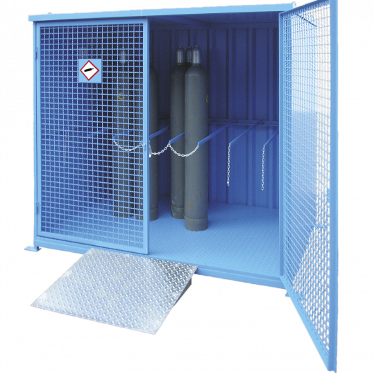Gasflessencontainer met vloer - Protecta Solutions
