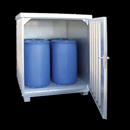 Stalen opslagdepot voor 4 vaten - Protecta Solutions