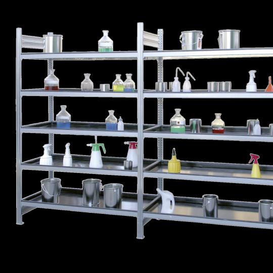 Opslagrekken met kunststof bakken - Protecta Solutions