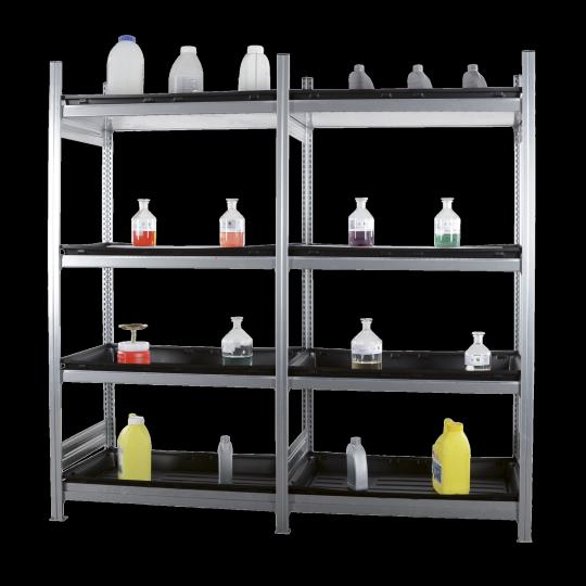 Opslagrekken met kunststo lekbakken - Protecta Solutions